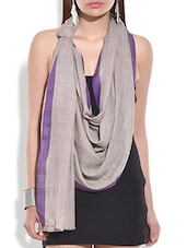 Grey Woollen Dupatta With Violet Border - By