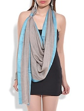 Grey Woollen Dupatta With Turquoise Border - By