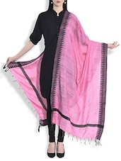 Pink Silk Dupatta With Temple Border - By