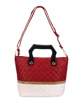 Red And White Leatherette Tote - Bags Craze