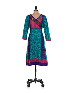 Wrap Neck Kurta In Blue - Varenya