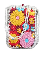Floral Textured Mobile Pouch - Bags Craze