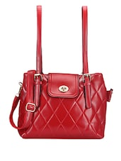 Textured Red Backpack - Bags Craze
