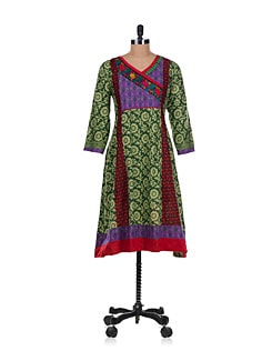 Wrap Neck Kurta In Green - Varenya