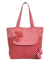 Bright Red Casual Tote - Bags Craze