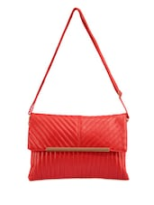 Stylish Red Leather Sling Bag - Bags Craze