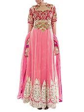 Embroidered Pink Pure Georgette Thread Work Semi Stitched Anarkali Suit - By