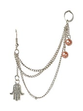 Funky Fashion Hand Charm With Pearl Ear Cuff For Single Ear - Fayon