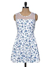 White Floral Short Dress - Magnetic Designs
