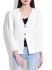 White Poly Knit Coat - By