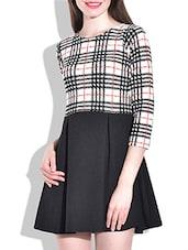 Black & White Printed Full Sleeves Dress - By
