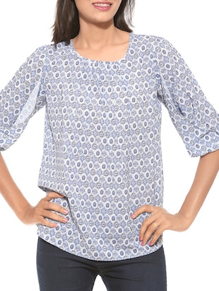 blue printed cotton top -  online shopping for Shirts