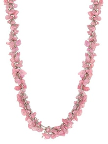Pink Acrylic Stones In Metal Chain NECKLACE - Blissdrizzle