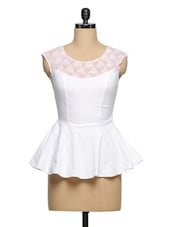 White Cotton-Lace Peplum Top - Ozel Studio