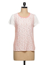 White-Pink Lace Top - Ozel Studio