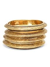Engraved Golden Bangles Set - By