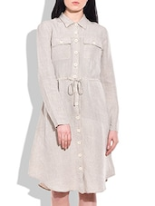 White Linen Shirt Dress - By