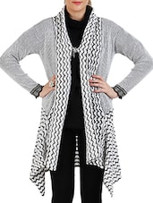White , Black Acrylic Wool Shrug - By