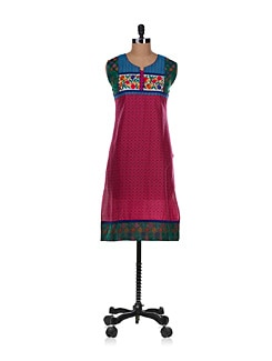 Sleeveless Colour Pop Kurta In Pink - Varenya