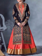Orange & Blue Bhagalpuri Silk Stone Work Beads Embellished Semi Stitched Suit Set - By