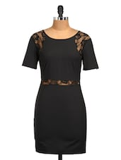 Black Lace Floral Lycra Dress - Golden Couture
