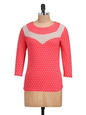 Pink Polka Knitted Round Neck Top - Golden Couture