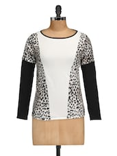 Animal Print Monochrome Color Block Top - Golden Couture