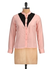 Marilyn Lace Color Block Peach Top - Golden Couture