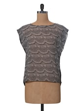 Black Lace Polyester Top - VAAK