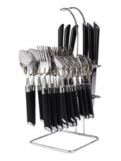 Expression Black Look Cutlery Set - 24 Pcs With Stand - Elegante'