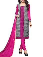 Pink And Grey Chanderi Unstitched Dress Material - By