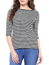 Black, White Cotton Striped Top - By