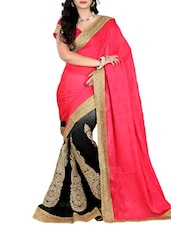 Pink Satin Embroidered Saree - By
