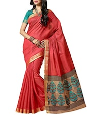Carrot Red Art Silk Saree - By