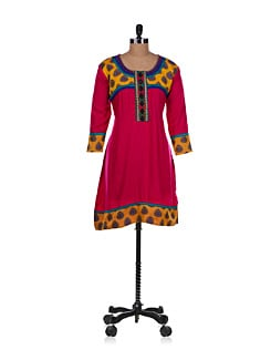 Short Flared Kurta In Pink - Varenya