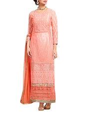 Orange Color Pure Georgette Dress Material - By