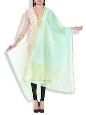 Sea Green Chanderi Silk Dupatta - By