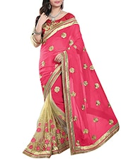 Embroidered Net ,  Georgette Half And Half Saree(Beige,Pink) - By