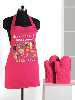 Printed Graffiti Apron Set (3 Pcs) Free Adjustable Size -  online shopping for Aprons