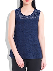 Navy Poly Lace,Poly Georgette Top - By