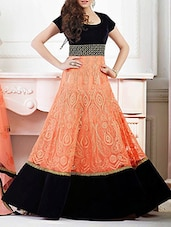 Orange And Black Net Semi Stitched Dress Material - By