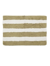 Multipurpose White And Brown Striped Cotton Floor Mat - Just Linen