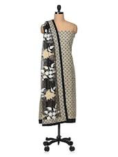 Black And Cream Khadi Unstitched Suit Set - VarEesha
