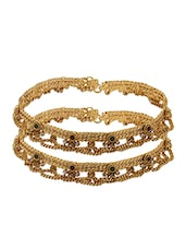 Pair Of Yellow Gold Plated Anklet With Cz, Green And Red Stone - Voylla