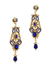 Gold Plated Dangler Earrings With Blue Color Stones, Shiny CZ And Tiny Pearl Beads - Voylla