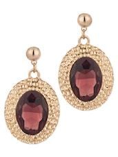 Pair Of Gold Tone Dangler Earrings Decorated With Purple Color Stone - Voylla