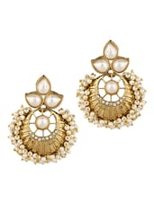 Gold Plated Pair Of Earrings With Shiny CZ And White Pearls - Voylla