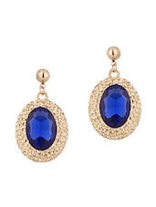 Pair Of Gold Tone Dangler Earrings Decorated With Blue Color Stone - Voylla