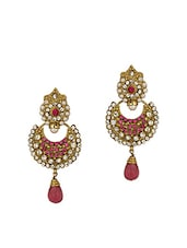 Gold Plated Crescent Earrings With Cz, Pearl Beads - Voylla