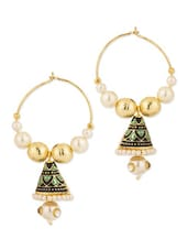 White Pearls And Enamel Work Studded Pair Of Gold Plated Hoop Earrings - Voylla